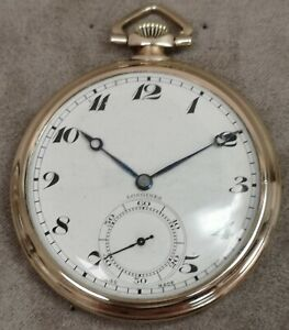 Longines 1930s 9ct Gold Open Face Manual Wind Pocket Watch cal. 17.89M