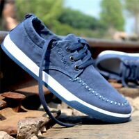 US Men's Canvas Casual Shoes Flats Suede Driving Sneakers Footwear Breathable
