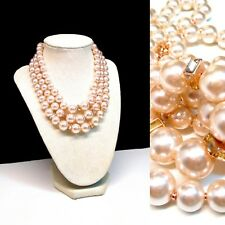 Estate Lucite & Crystal Simulated Pearl Multi Stranded Necklace W Rose Gold Tone