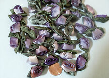 Variegated Silk ribbon Roses Peachy Pink to Lavender Purple 100 count #26