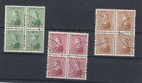 Iceland 1937 Silver Jubilee Set In Blocks Of 4 SG220/222 VFU  JK1848