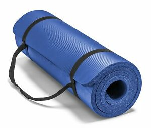"""Extra Thick 10mm Exercise Yoga Pilates Mat Gym Fitness NBR 72""""x 24"""" w/ Bag Strap"""