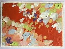 ACEO original oil painting Red Floral Abstract Art floral nature garden spring