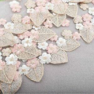 Embroidery Lace trim ribbon 2M Cream Ivory Pink wedding dress decoration MESH
