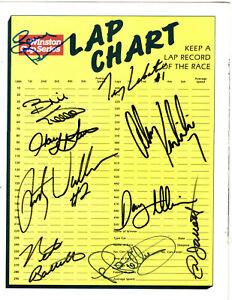 NASCAR 1990 Winston Cup original hand signed autographed lap chart
