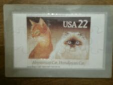 Novelty Stamp Puzzle Postcard Abyssinian And Himalayan Cat