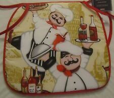 """Set of 3 FAT CHEF KITCHEN CHAIR PADS CUSHIONS w/strings, (13""""x 15"""") 2 CHEFS"""