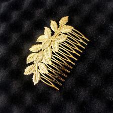 Bridal Wedding Gold Leaf Shiny Tiara Women Hair Clip Comb Hairpins Headpiece