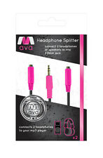 AVA RY718 3.5mm MP3 Player Headphone Splitter Cable 0.2m Length Pink Connectors