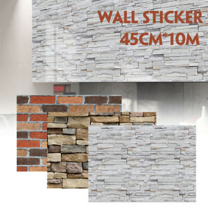 3D wall stickers Vintage Brick Effect Rustic Stone Grey Textured Self-adhesive