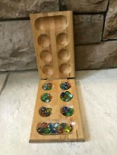 Mancala Solid Wood Board Game /Glass Gems Marbles