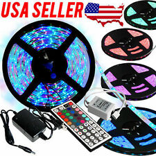 5M 3528 RGB LED Strip Light 300leds+44key Remote Controller+12V Power Supply US