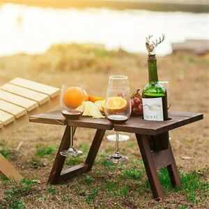 Wooden Outdoor Portable Folding Camping Picnic Table with Glass Rack Wine Rack