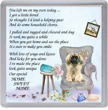 "Pekingese / Peke Dog Coaster ""HOME SWEET HOME Poem .."" Novelty Gift by Starprint"