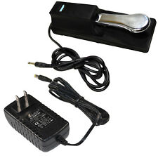 AC Adapter +Sustain Pedal for Casio CTK451 CTK471 CTK481 CTK2000 CTK2100 CTK3000