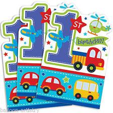 8 tous à bord blue boy's 1st birthday party invitations invite plus enveloppes