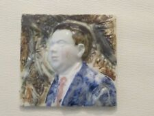 Original Ceramic Hand Painted Sculpture of Dylan Thomas by Gillian Still