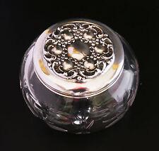 Antique silver-lidded cut-glass dresser jar, forget-me-nots, exc. cond.