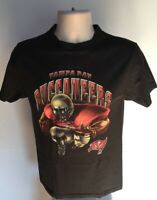 Tampa Bay Buccaneers Vintage T Shirt Small Black NFL Graphic Tee 100% Cotton