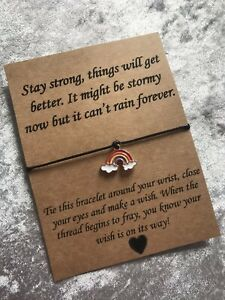 🌈 Stay Strong Rainbow Charm Missing You friendship Wish bracelet/anklet Gift 🌈
