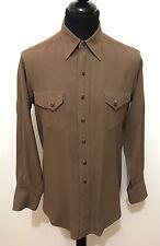 CULT VINTAGE '40 WWII Camicia Uomo Rayon Rockabilly Gabardine Man Shirt Sz.M