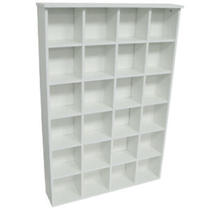 PIGEON HOLE - 480 CD / 312 DVD Blu-ray Media Cubby Storage Shelves White 2449OC