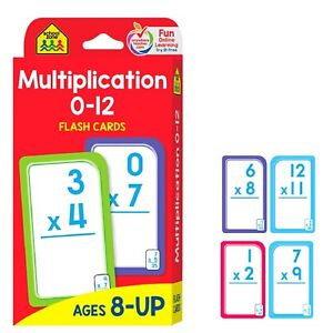 School Zone Multiplication 0-12 Flash Cards 3rd Grade, 4th Grade Elementary Math