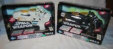 """LOT OF 2 SPACE WEAPON 1999 FUNNY TOY BATTERY OPERATED BARREL & MISSILES 12"""" LONG"""