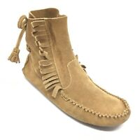 Women's J Crew Lace Up Moccasin Boots Shoes Size 9.5 M Brown Suede Casual AH14