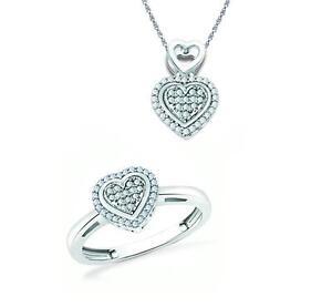 Pendant & Ring Set 925 Sterling Silver Micro Pave Diamond Heart Set .18ct