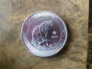 2017 Canadian 1 1/2 oz. 8 dollar Grizzly Bear coin fine silver