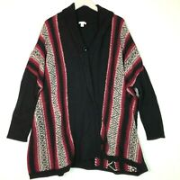 J.jill heavy poncho sweater black red size medium large M/L