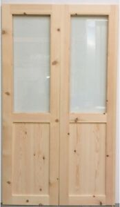 Wooden French Door Pair Two Panel Style Unglazed