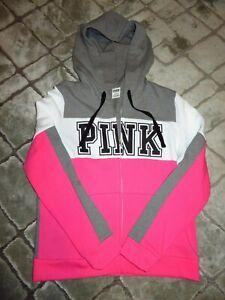 New Victoria's Secret PINK Sz Large Pink Zip Front Hoodie Jacket w/ Logo NWOT