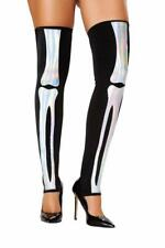 Skeleton Bones Thigh High Stockings Leggings Iridescent Silver Shimmer ST4760