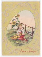 Elena cadre tissu en relief carte postale vintage Pâques petite fille poussins