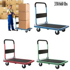 330660lbs Platform Cart Dolly Foldable Push Hand Truck With 360 Swivel Wheels