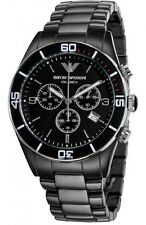 EMPORIO ARMANI AR1421 Black Sports CERAMICA Mens Chronograph Watch NIB AUTH SEE!
