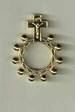 Gold Color One Decade Rosary Ring from Italy Made of Oxidized Metal