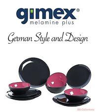 Gimex Melamin 12-tlg Camping Geschirr Set Grey Color Line brombeer Dinnerware