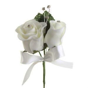 Foam Rose Flower with Rhinestone Beads, 5-1/2-Inch