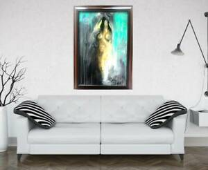 UNIQUE NUDE ABSTRACT Painting by SWARTZMILLER  DNA SIGNED Art  BIG FRAMED CANVAS