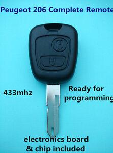 Peugeot 206 complete  Remote Key with Transponder & electronics
