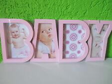 """Bilderrahmen""""Baby Rosa""""Fotorahmen Mädchen Geburt Taufe Bild Picture Wanddeko"""