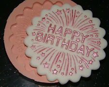 Silicona Molde Happy Birthday Stars Pastel Cupcake Glaseado Fimo Resina Arcilla Polimérica