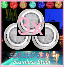 New 3x Stainless Steel 558 LED Lights RGB 7Color Swimming Pool Spa Wall Mounted