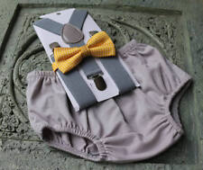 1st Birthday boy cake smash diaper cover bow tie boy clothes gray yellow polka