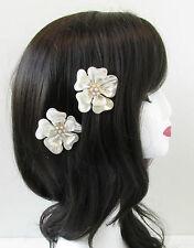 2 X Elfenbeinweiß Blume Haar Kämme Braut Vintage Perlen 1920er Jahre Kopfschmuck