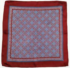 New Mens Bloomingdales 100% Silk Red Medallion Print Handkerchief Pocket Square
