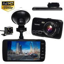 "HD 1080P 4"" IPS Car DVR Dual Lens Dash Camera Night Vision Cam +32GB Micro SD"
